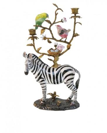 Bougeoir Zèbre aux Oiseaux - Porcelaine et Laiton - H 52 cm