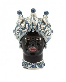 Vase en Céramique, Femme Maure - Blanc et Bleu