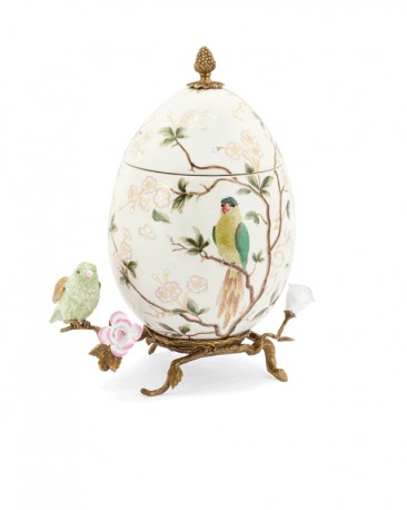 White Egg-Shaped Ceramic & Bronze Box