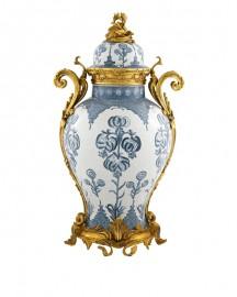 Urne Céramique Craquelée et Cuivre Chopin H67cm