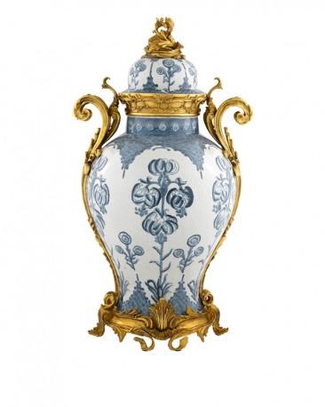 Blue & White Cracked Ceramic Urn Chopin H67cm