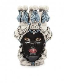 Vase en Céramique, Femme Maure - Bleu et Blanc