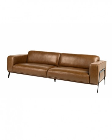 The Brooklyn Sofa In Light Brown Leather Made To Measure Modernist Style