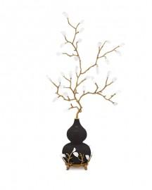 Sculpture Vase Porcelaine et Branche Minérale - H 96 cm