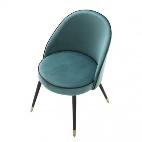 Chaise Bradley Velours Turquoise, Set de 2