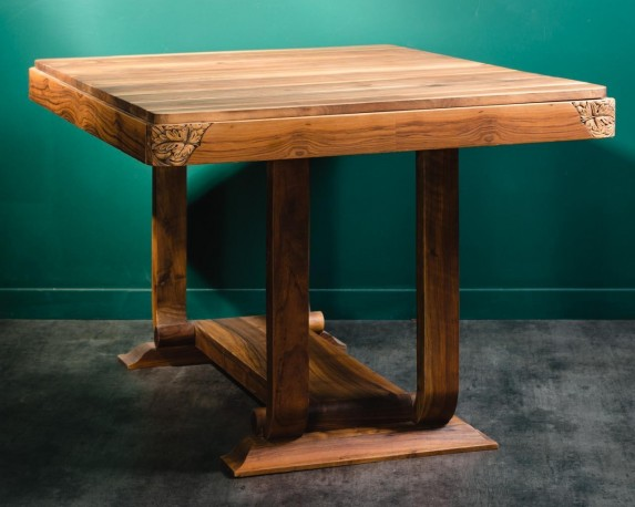 Very Beautiful Dining Table Art Deco Style 50 60 Walnut