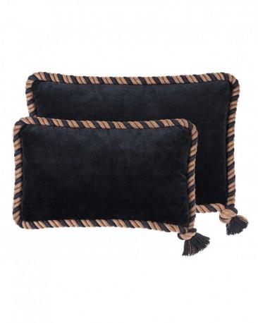 Set of 2 Pillows Black Velvet