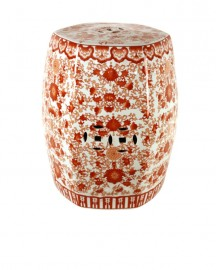 Porcelain Stool, Red Coral