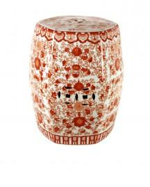 Tabouret ou Guéridon en Céramique Chinoiserie Corail