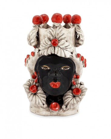 Vase en Céramique, Femme Maure - Rouge, Noir et Blanc