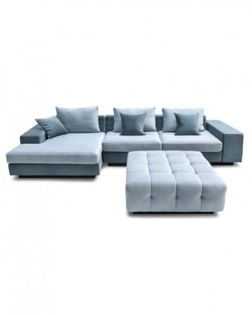 Blue Velvet Corner Sofa Horizon, 434cm