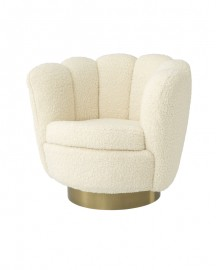 Swivel Chair Glossy, Faux Shearling