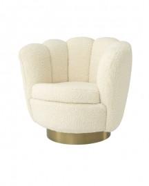 Swivel Chair Glossy, Faux Shearling
