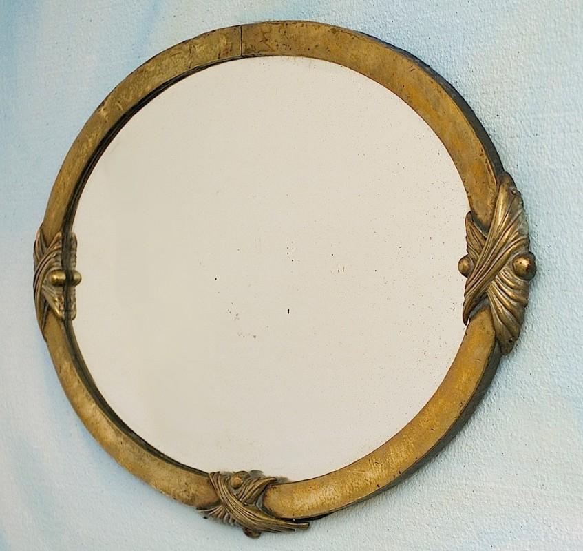 Grand miroir ancien r tro vintage oval ann es 1900 for Grand miroir cuivre