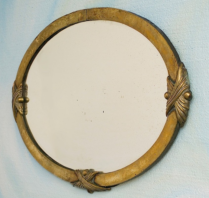 grand miroir ancien r tro vintage oval ann es 1900 poque 1900 oval laiton. Black Bedroom Furniture Sets. Home Design Ideas