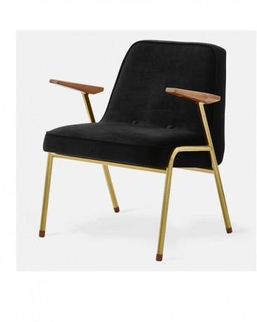 Armchair 50s Style Velvet & Gold Metal