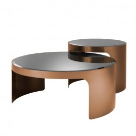 Table Basse Circle, Set de 2, Design Retro 70s