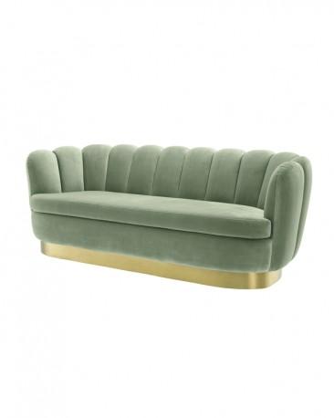 Green Water Velvet Sofa Glossy 50s Style