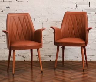50's brown armchairs