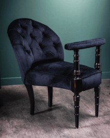 Black Velvet Smoking Chair