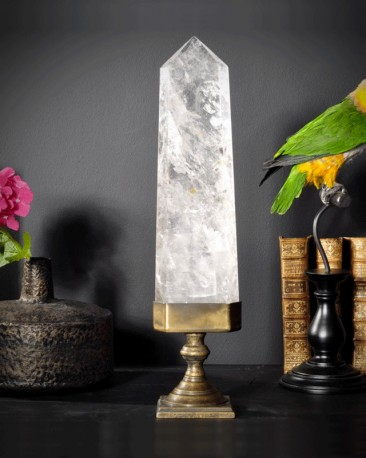 Rock Crystal on brass stand