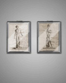 Greek Statuary Wall Display Cases, Set of 2