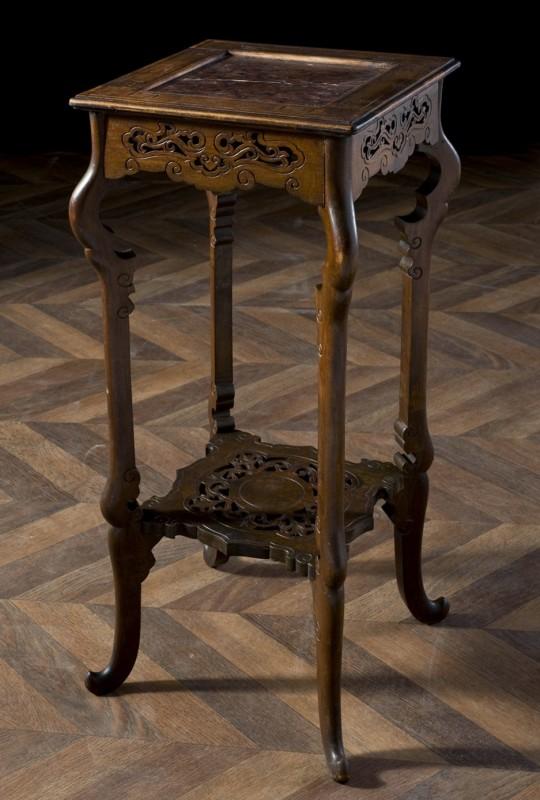 Sellette en bois sculpté et plateau en marbre rose, meuble ancien et vintage de style asiatique # Meuble Sellette Bois
