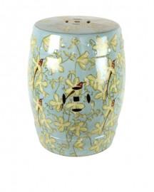Tabouret ou Guéridon en Céramique aux Orchidées