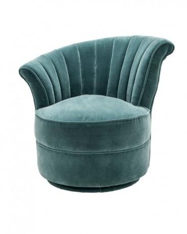 Swivel Armchair Nautile, Deep Turquoise Velvet