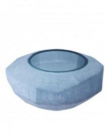 Vase Silk Bleu, verre soufflé main H15cm