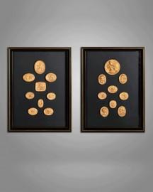 Intailles Dorés Antiques - Set de 2 cadres