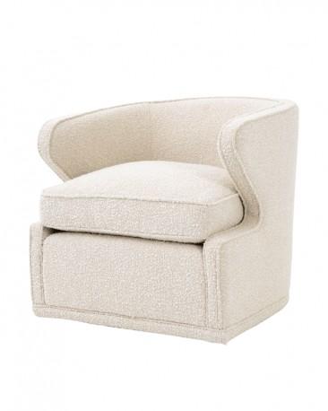 Swivel Chair John, Cream Bouclé Upholstery