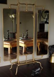 Grand miroir triptyque en Laiton
