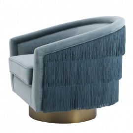 Light Blue Swivel & Fringes Armchair Chabada