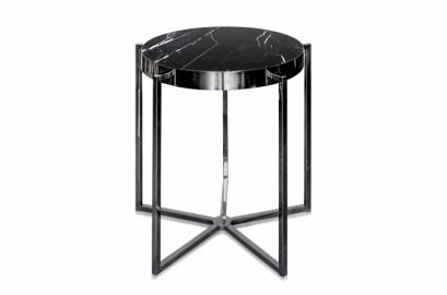Pedestal Black Marble Table Gable - ∅ 65 cm