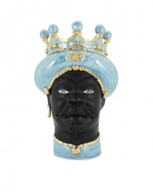 Ceramic Vase, Man Moor Head Gold & Blue Sky