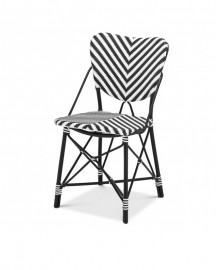 Rattan Dining Chair Black & White Color