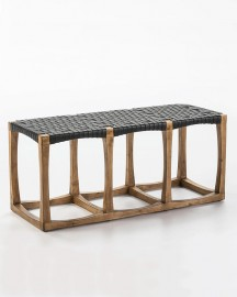Wood and Leather Bench Ely 107cm