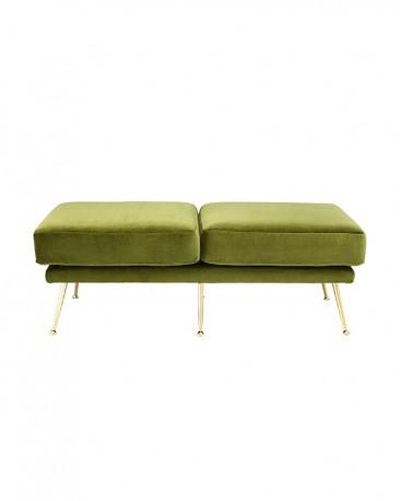 Lime Green Velvet Bench Paulette 125 cm