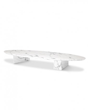 Oval White Marble Coffee Table Athenes