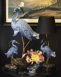 Porcelain & Bronze Blue Heron Table Lamp