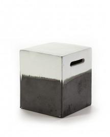 Tabouret ou Bout de Canapé en Grès Noir et Blanc - H40 cm