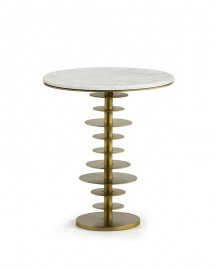 Pedestal Marble and Gold Metal Waves H58cm