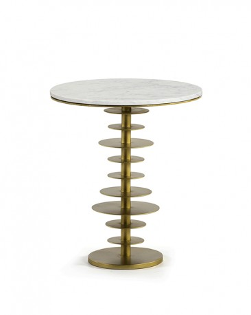 Pedestal Table Piston Carrare Marble