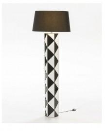 Floor Lamp Black & White Glass
