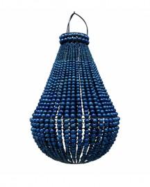 Suspension Perles de Bois Bleue H 80 cm