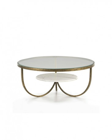 Round Coffee Table Joy - Metal, Glass & Marble