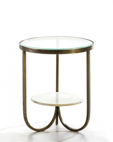 Oval Side Table in Brass and Smoked Glass Gigi
