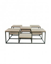 Oak and Metal Coffee Table Alpilles 120x120 cm