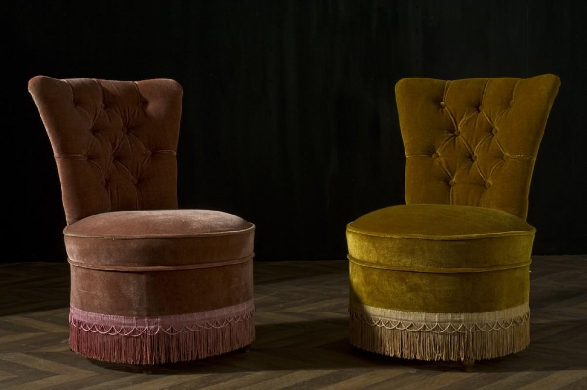 Fauteuil Crapaud Vintage Ancien Velours Capitonné Meubles - Ancien fauteuil crapaud